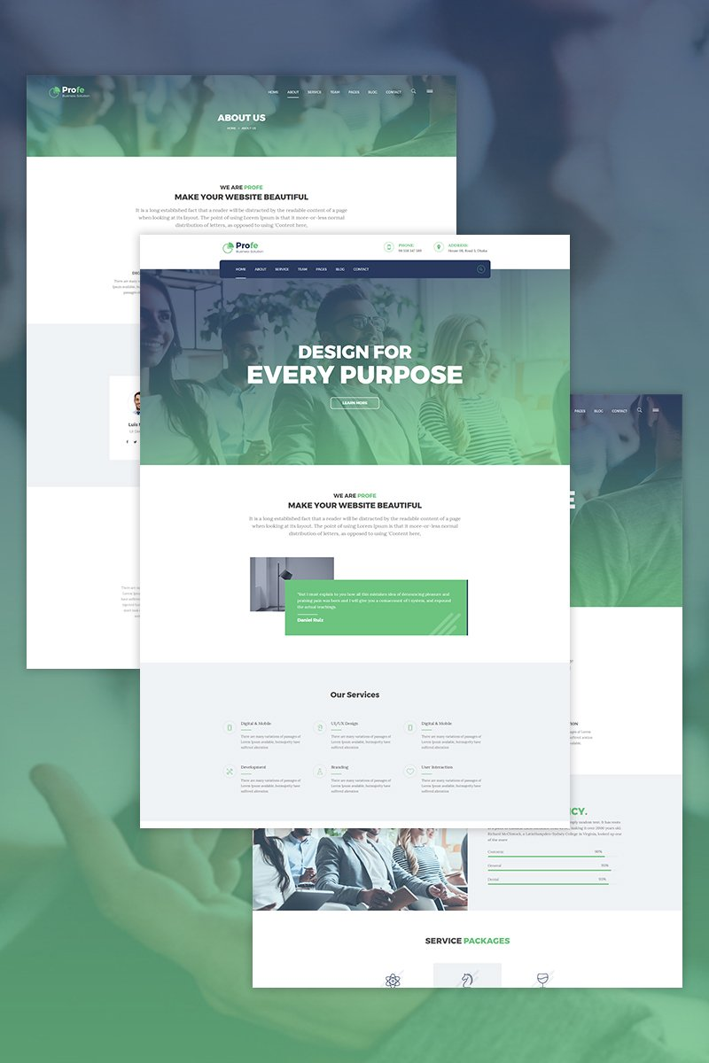 Responsivt Profe - corporate WordPress-tema #68558