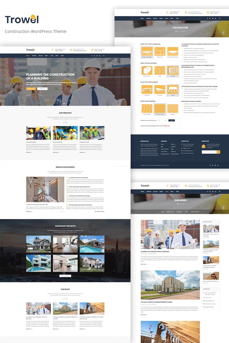 Responsivt Trowel - Construction WordPress-tema #68545