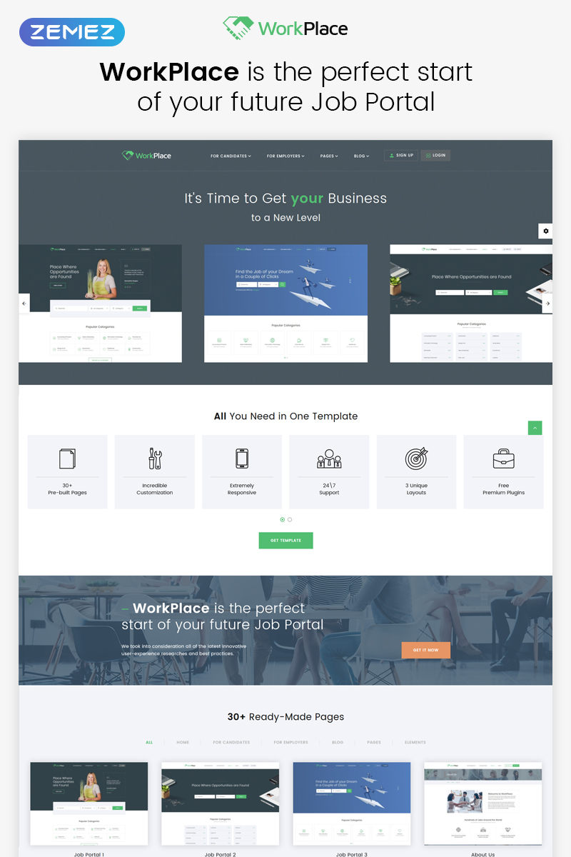 Responsivt WorkPlace - Job Portal Multipage HTML5 Hemsidemall #68598