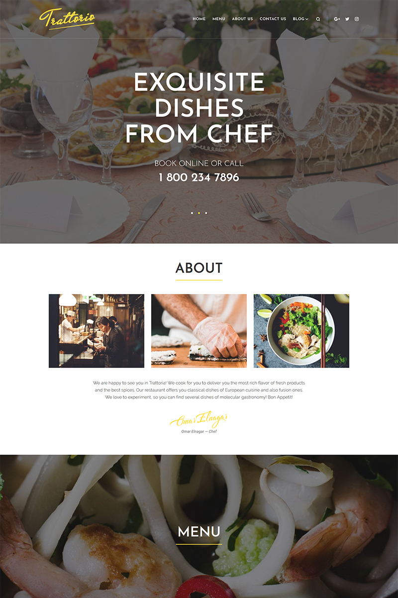 Reszponzív Trattorio - Restaurant Elementor WordPress sablon 68534