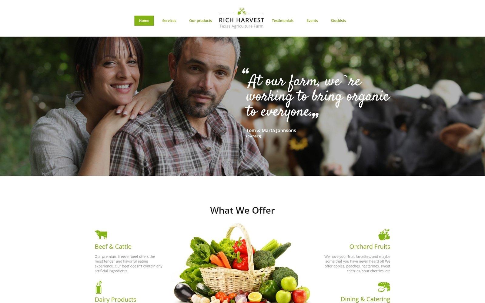 """Rich Harvest - Farming HTML5 with Built-In Novi Builder"" - адаптивний Шаблон цільової сторінки №68507"