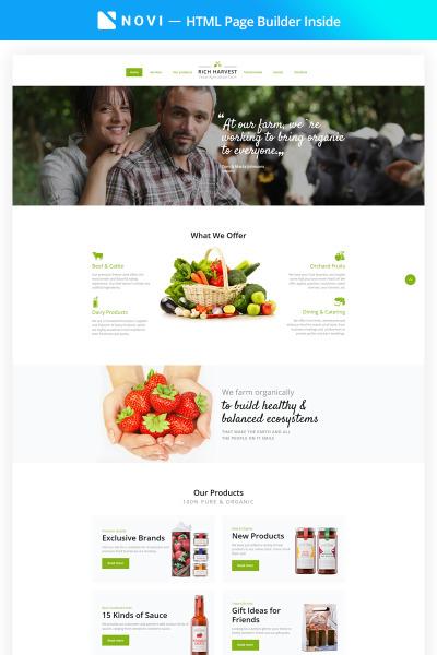 "Шаблон посадочной страницы ""Rich Harvest - Farming HTML5 with Built-In Novi Builder"" #68507"