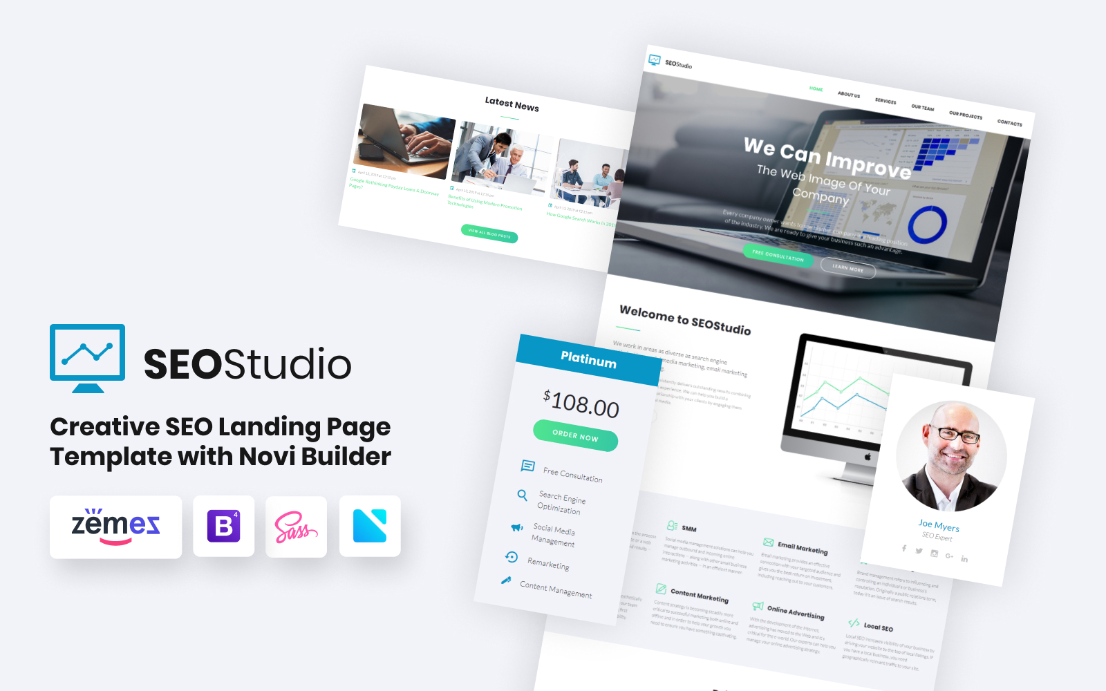 """SEO Studio - Consulting HTML with Novi Builder Landing Page Template"" Responsive Landingspagina Template №68520"