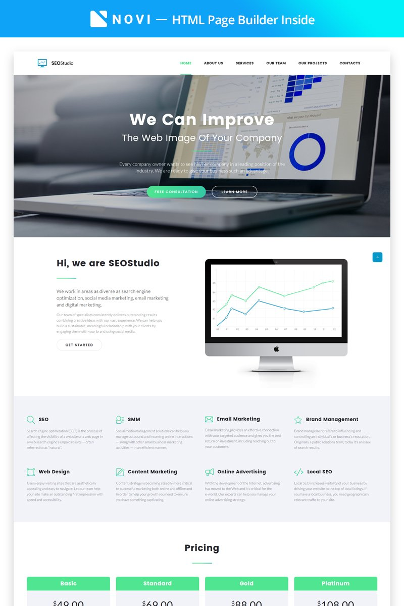 SEO Studio - Consulting HTML with Novi Builder Templates de Landing Page №68520