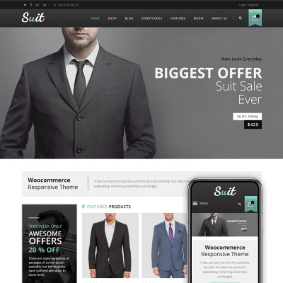 Suit - Men's Fashion Store WooCommerce Theme #68566