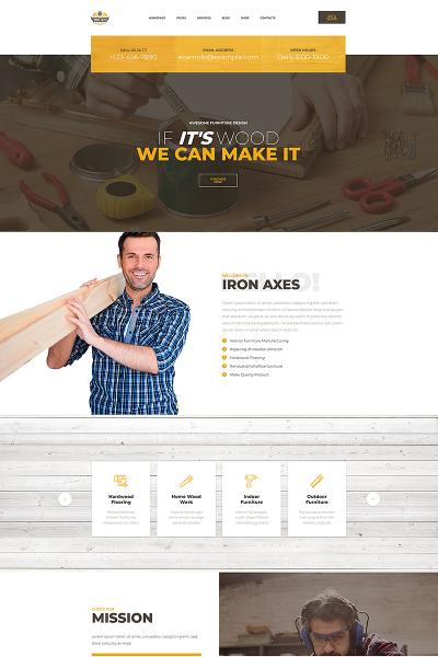 IronAxes - Carpenter & Handyman Responsivo Plantilla de WordPress #68594
