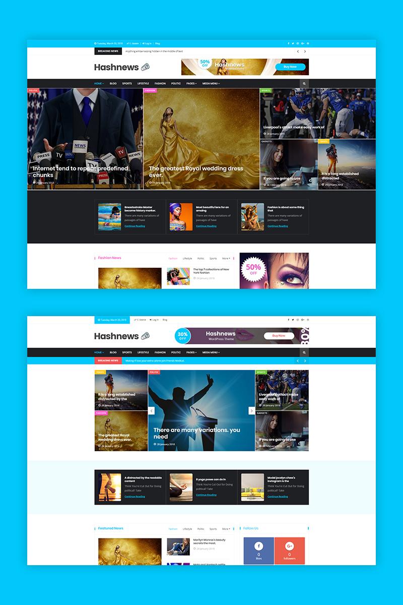 """Tema WordPress Responsive #68586 """"HashNews - Magazine & Newspaper"""""""