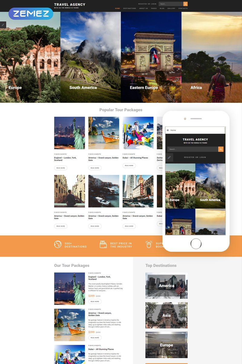 "Template Joomla Responsive #68575 ""Travel Agency"""
