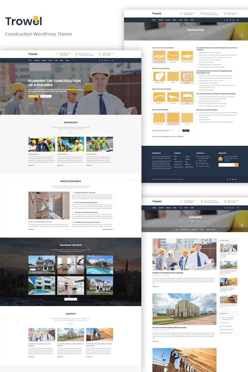 Trowel - Construction WordPress Theme - screenshot