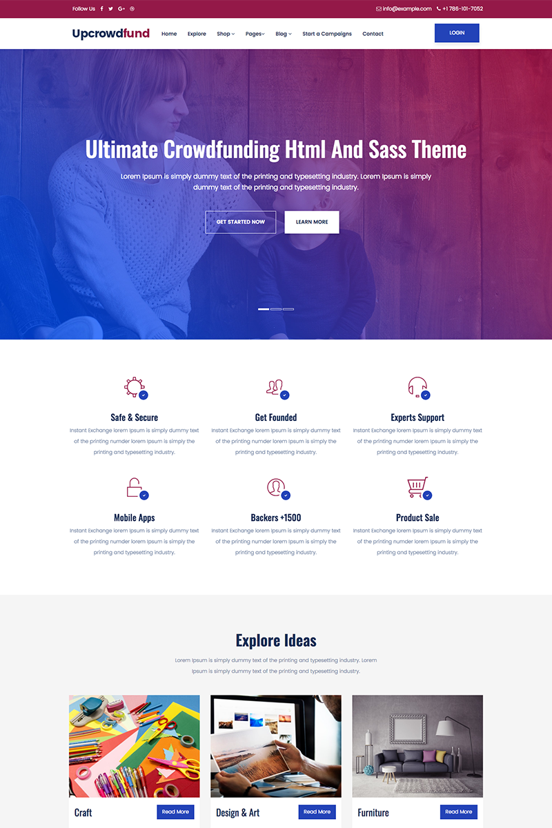 Upcrowdfund And Sass Crowdfunding Website Template 68576 Big