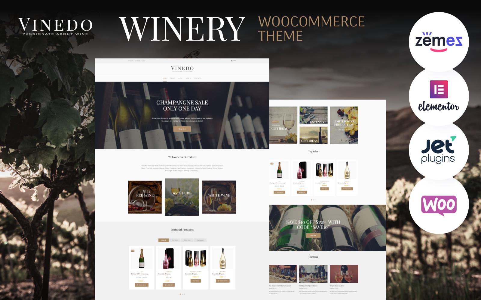 """Vinedo - Vinery Elementor"" 响应式WooCommerce模板 #68518"