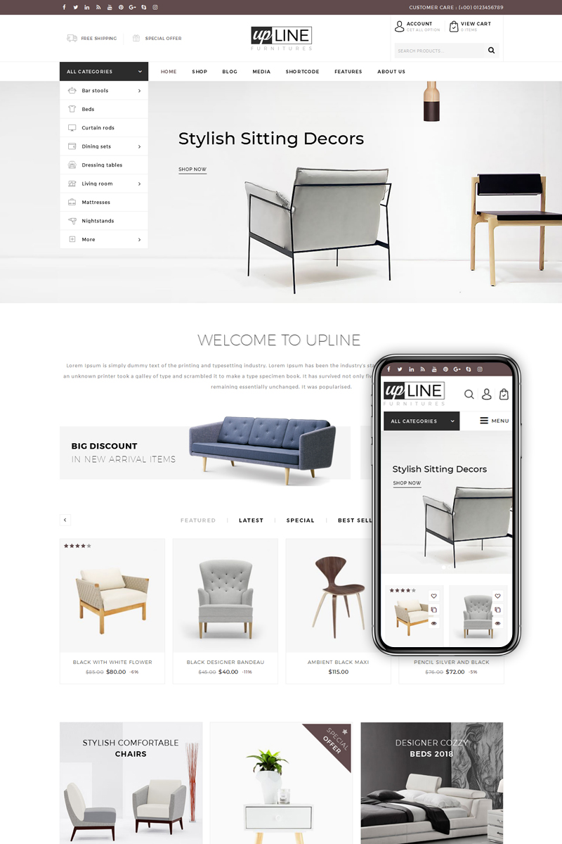 "WooCommerce motiv ""UpLine - Furniture Online Store"" #68573 - screenshot"
