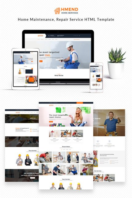 Website Design Template 68639 - electrician handyman heating home maintenance house building painter plumber remodeling renovation roofing