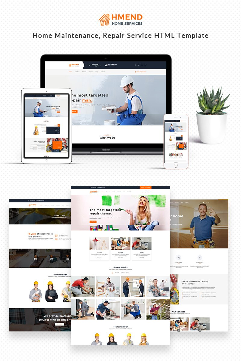 Website Design Template 68639 - repair electrician handyman heating home maintenance house building painter plumber remodeling renovation roofing