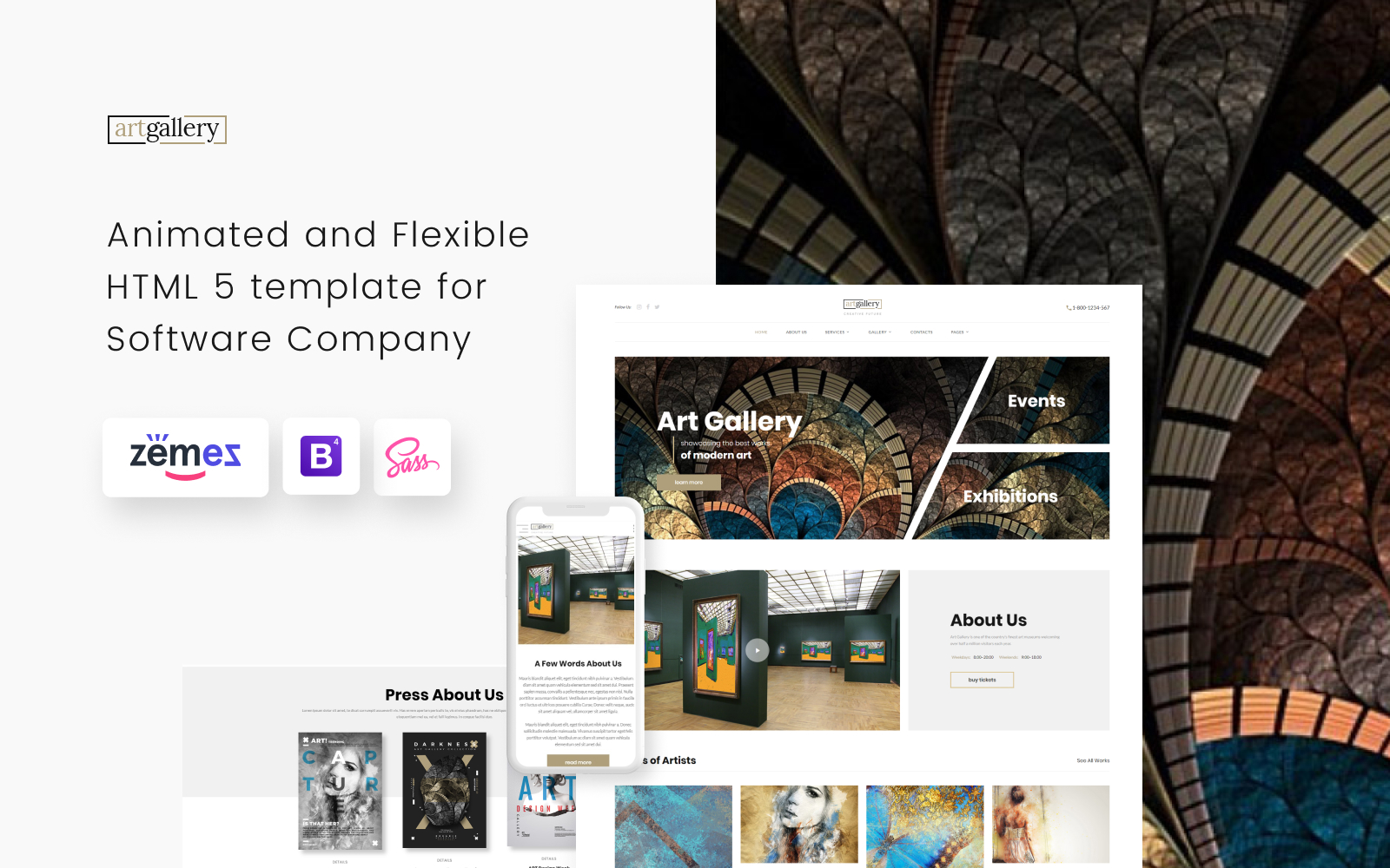 """Art Gallery Multipage HTML5"" Responsive Website template №68655"
