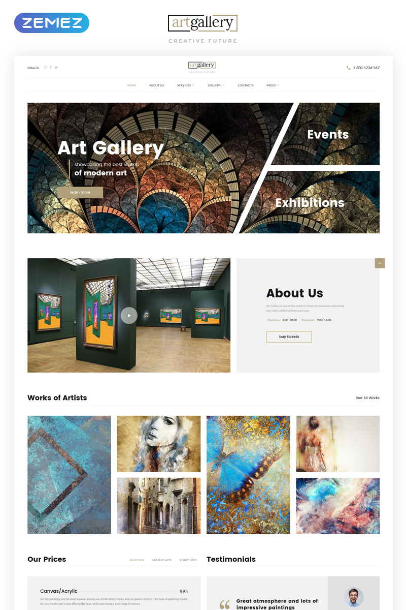 """Art Gallery Multipage HTML5"" 响应式网页模板 #68655"