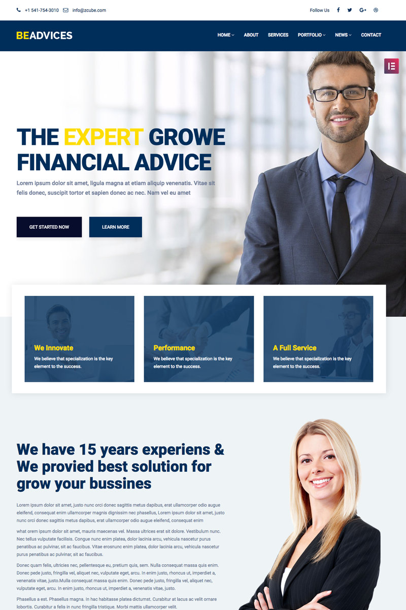 """Beadvicese - Business and Financial"" - WordPress шаблон №68672"
