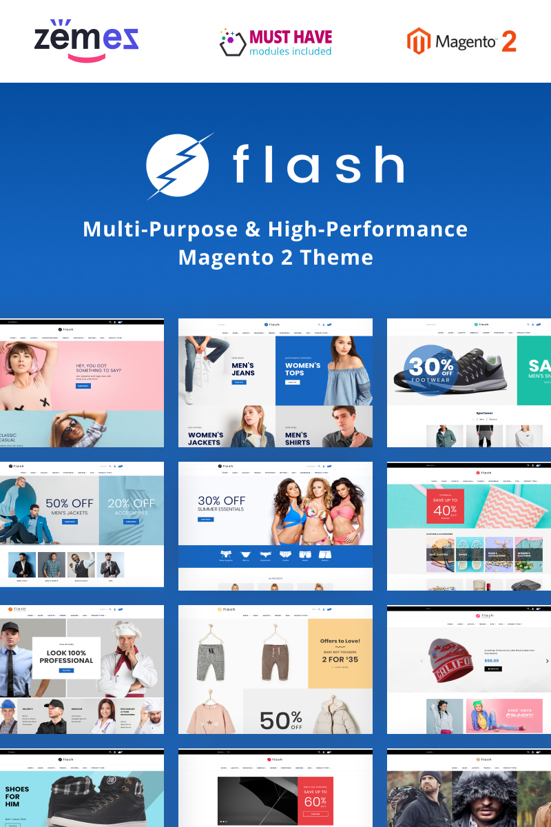 """Flash - Multi-Purpose & High-Performance"" Magento模板 #68618"