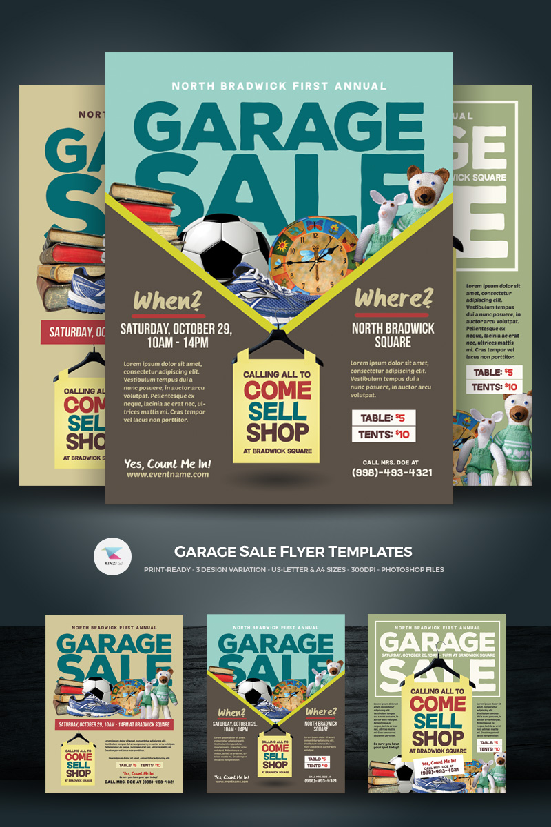 garage sale flyer corporate identity template 68650