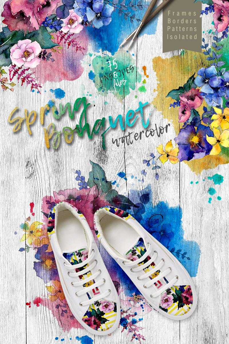 "Ilustración ""Spring Bouquet PNG Watercolor Flower Set"" #68679"