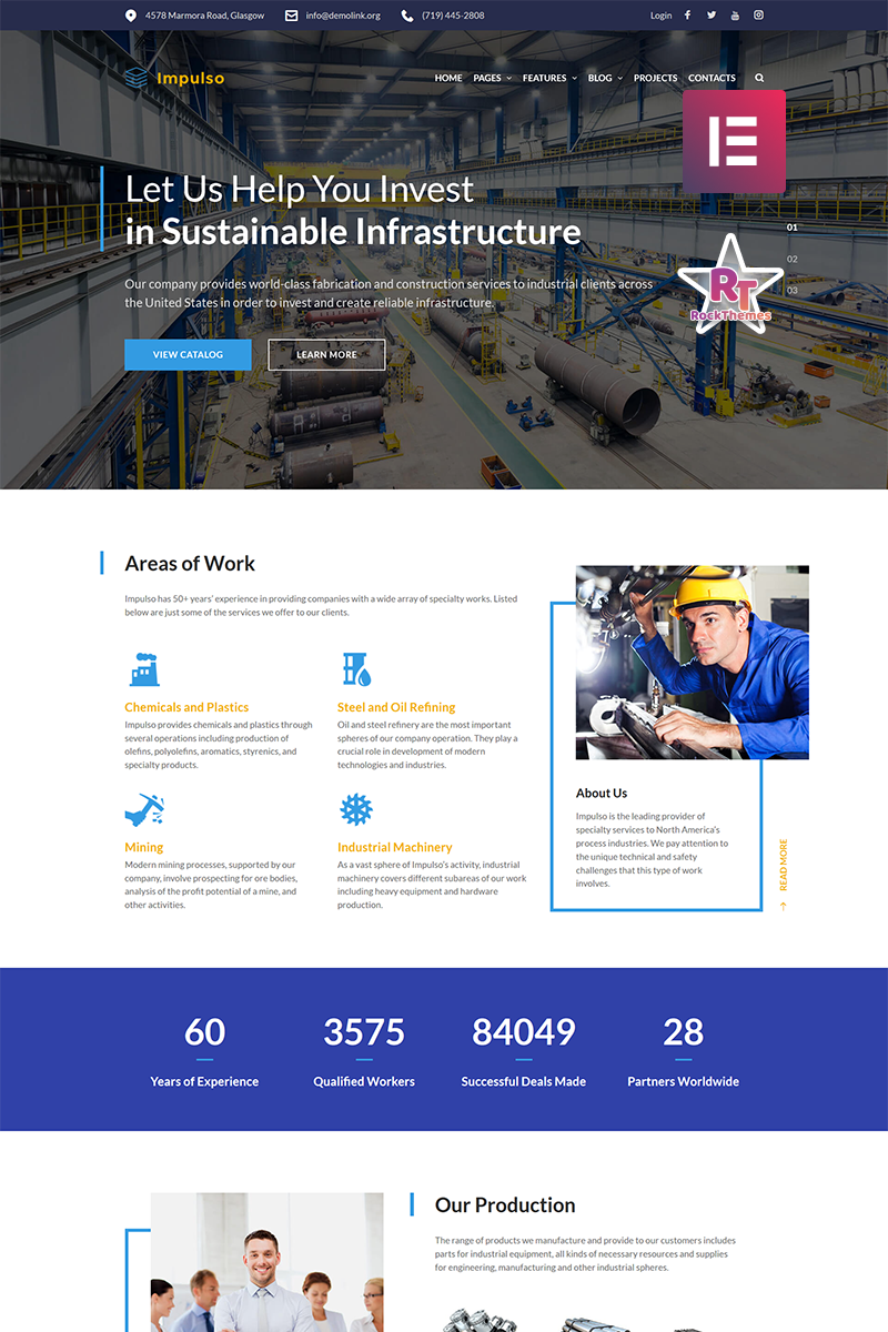 Impulso - Industrial Company Elementor Tema WordPress №68682 - captura de tela