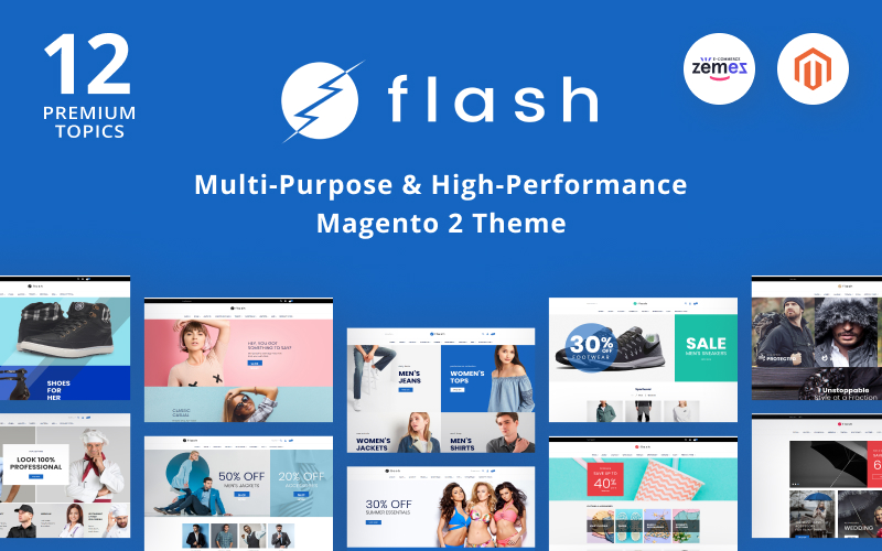 "Modello Magento Responsive #68618 ""Flash - Multi-Purpose & High-Performance"""
