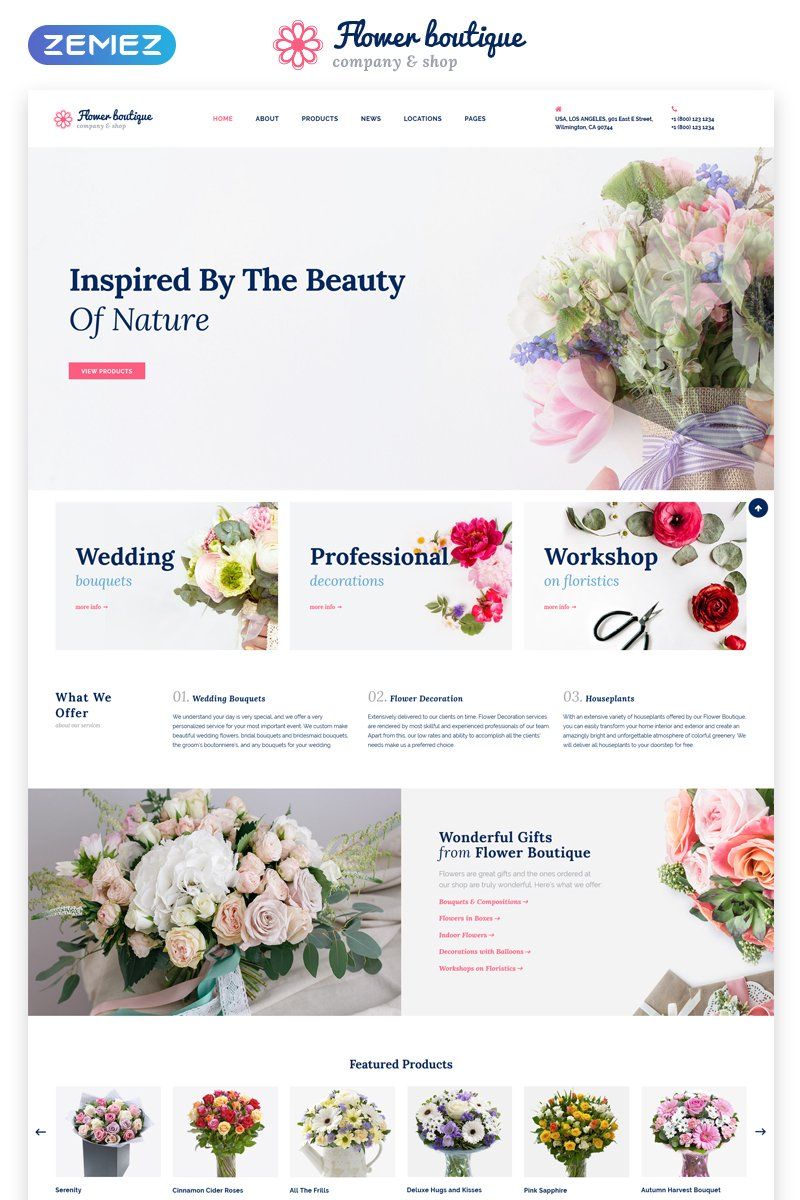 "Plantilla Web ""Flower Boutique Multipage HTML5"" #68654"
