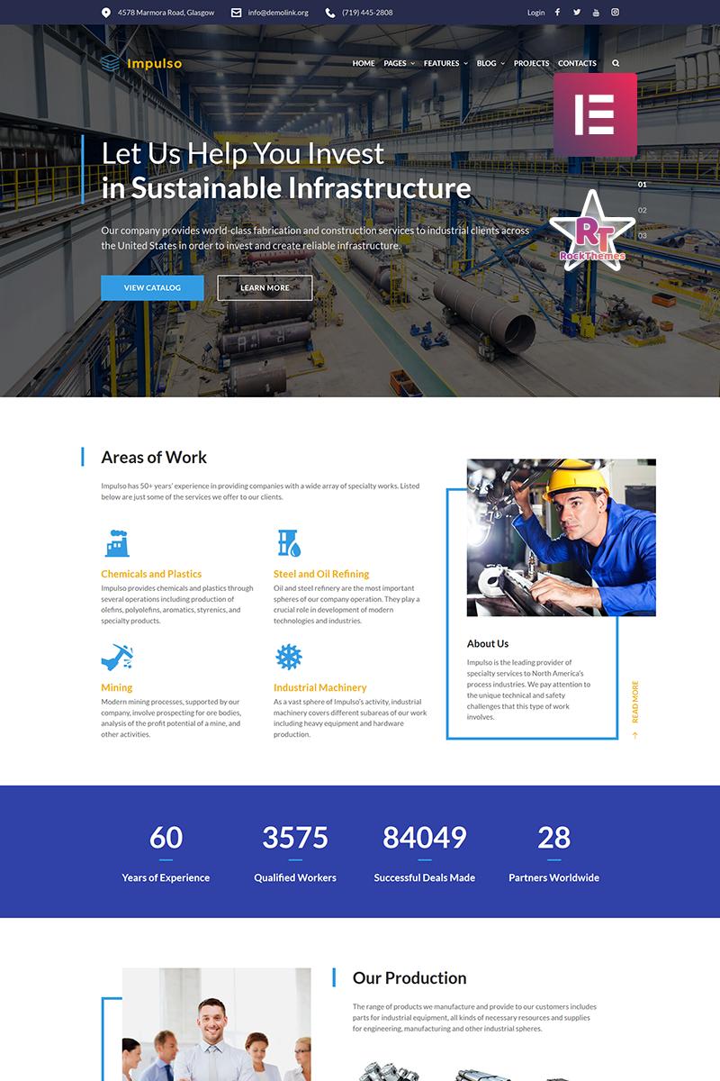 Responsivt Impulso - Industrial Company Elementor WordPress-tema #68682 - skärmbild