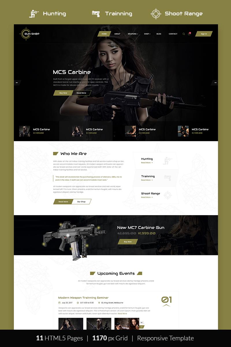 Responsywny szablon strony www Gun Shop HTML Template #68663