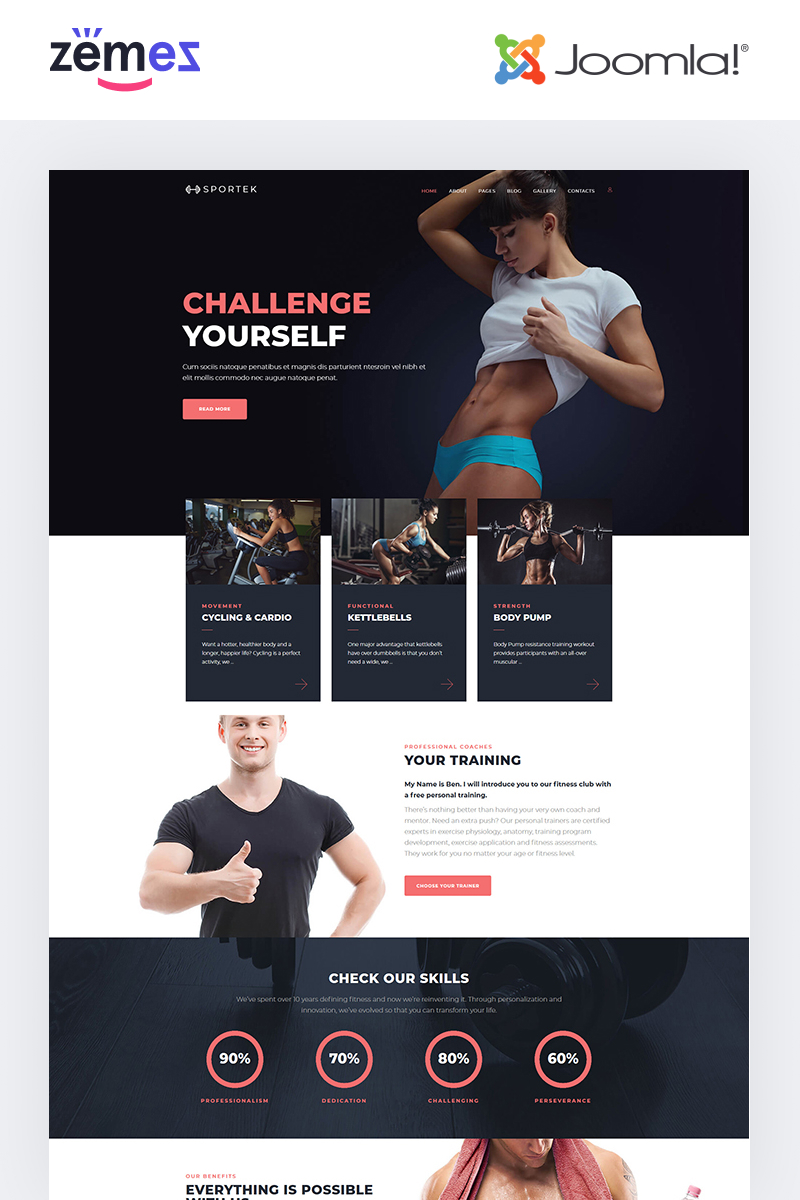 """Sportek - Gym Responsive Creative"" - адаптивний Joomla шаблон №68669"