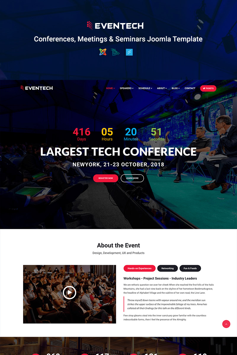 """Template Joomla Bootstrap #68635 """"Eventech - Conference & Event"""""""
