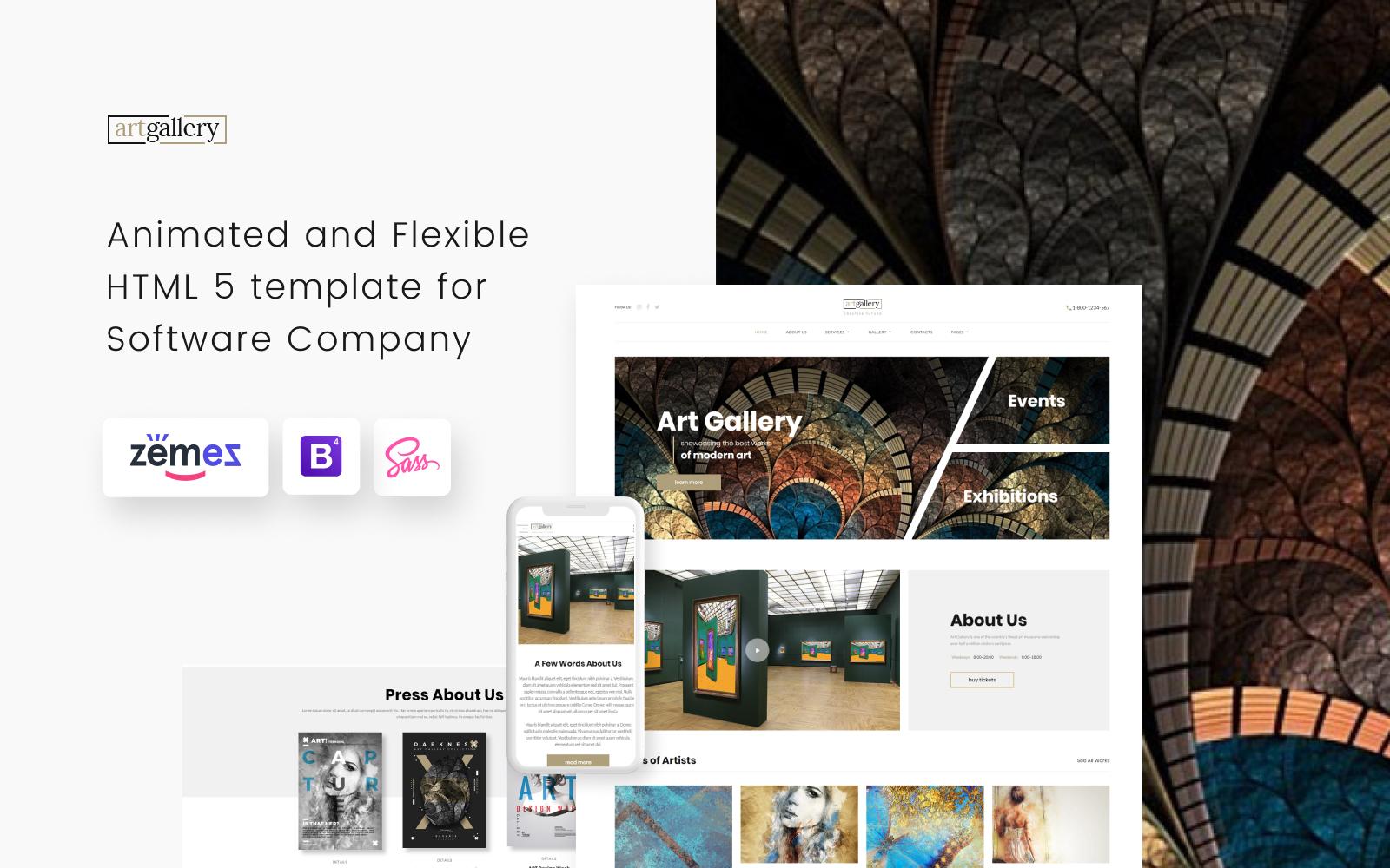 """Website Vorlage namens """"Art Gallery Multipage HTML5"""" #68655"""