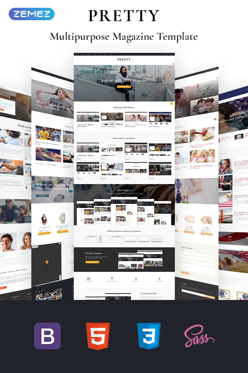 "Website Vorlage namens ""Pretty - Magazine Multipurpose HTML5"" #68693"