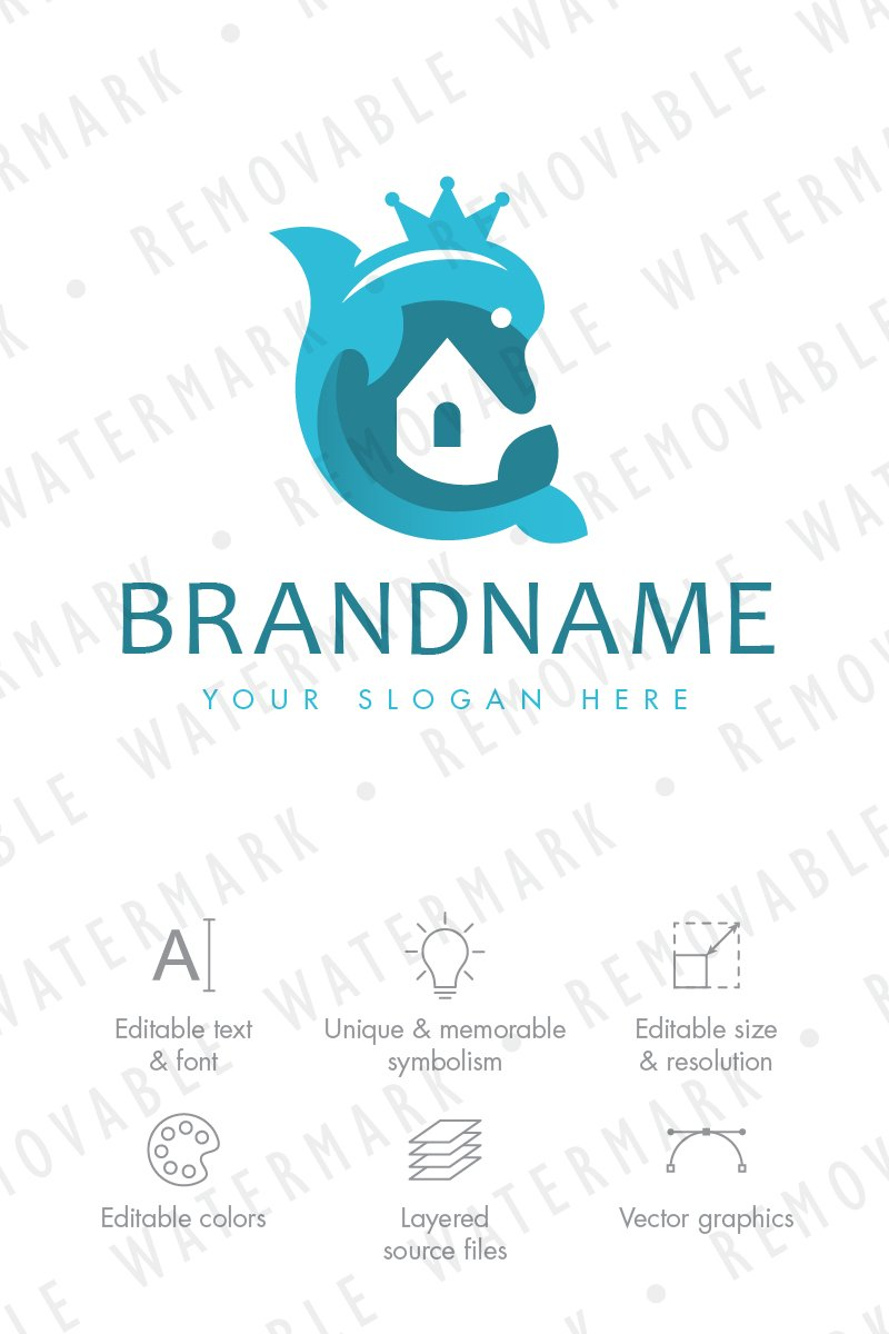 Dolphin Realty Logo Template #68786