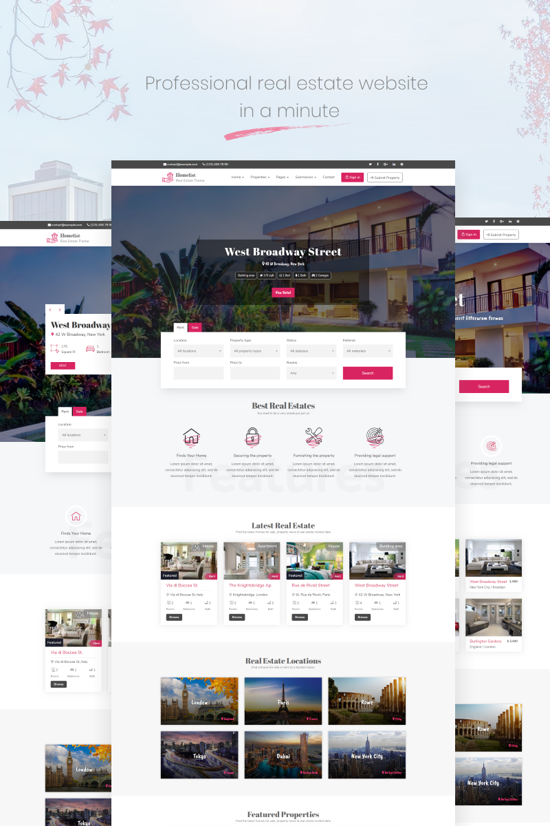 """Homelist - Real Estate"" thème WordPress adaptatif #68756"