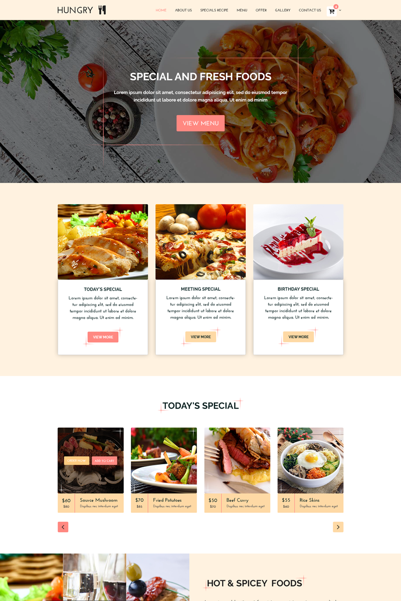 """""""HUNGRY - Restaurant Services"""" Responsive PSD Template №68736"""