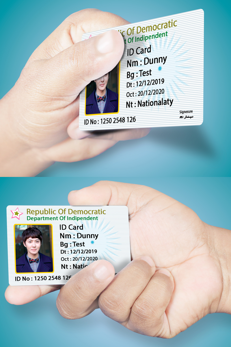 ID Card and Hand Product Mockup #68715