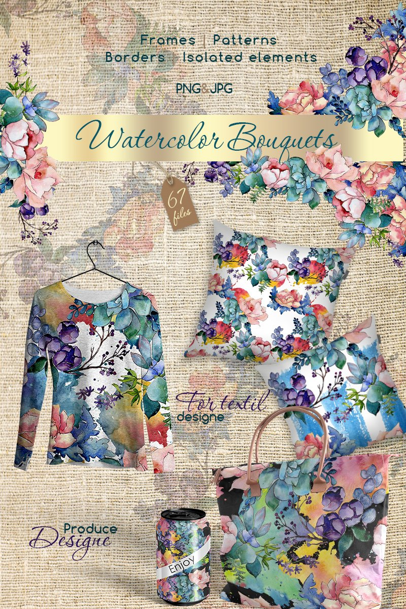 "Ilustrace ""Watercolor Bouquet PNG Flower Set"" #68702"