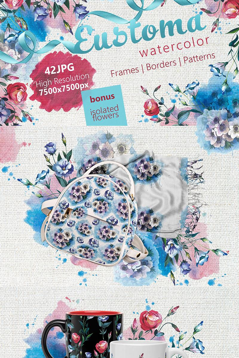 """Ilustración """"Beautiful Eustoma JPG Watercolor Set"""" #68731"""