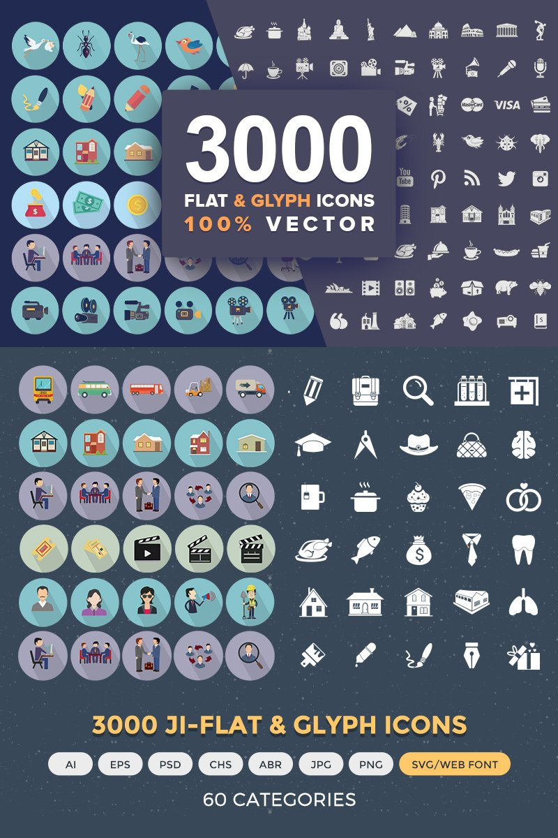 Jumbo Flat-Glyph Icons Pack Iconset Template
