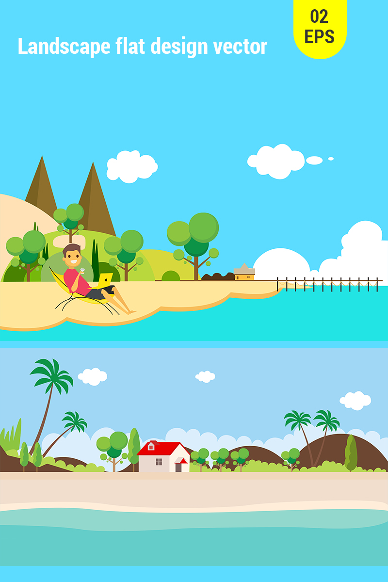 landscape flat design vector illustration 68700