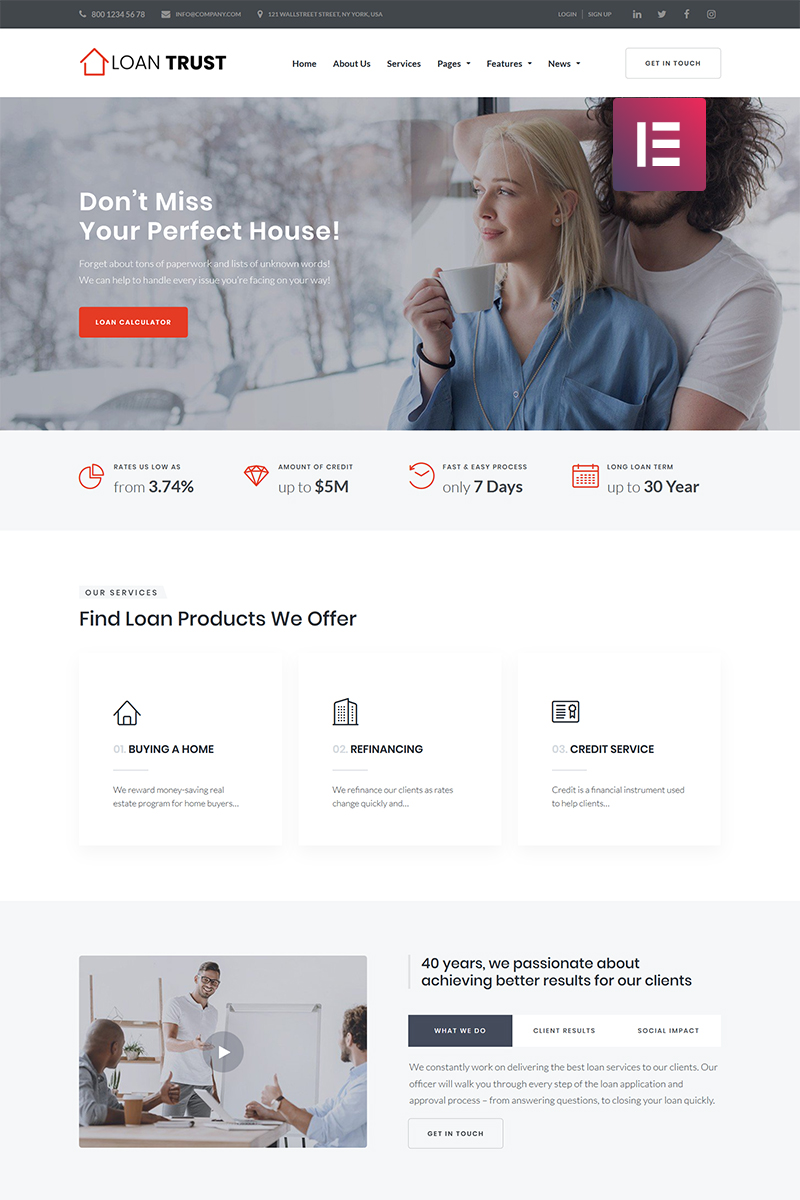 """Loan Trust - Mortgage Company Elementor"" Responsive WordPress thema №68706"