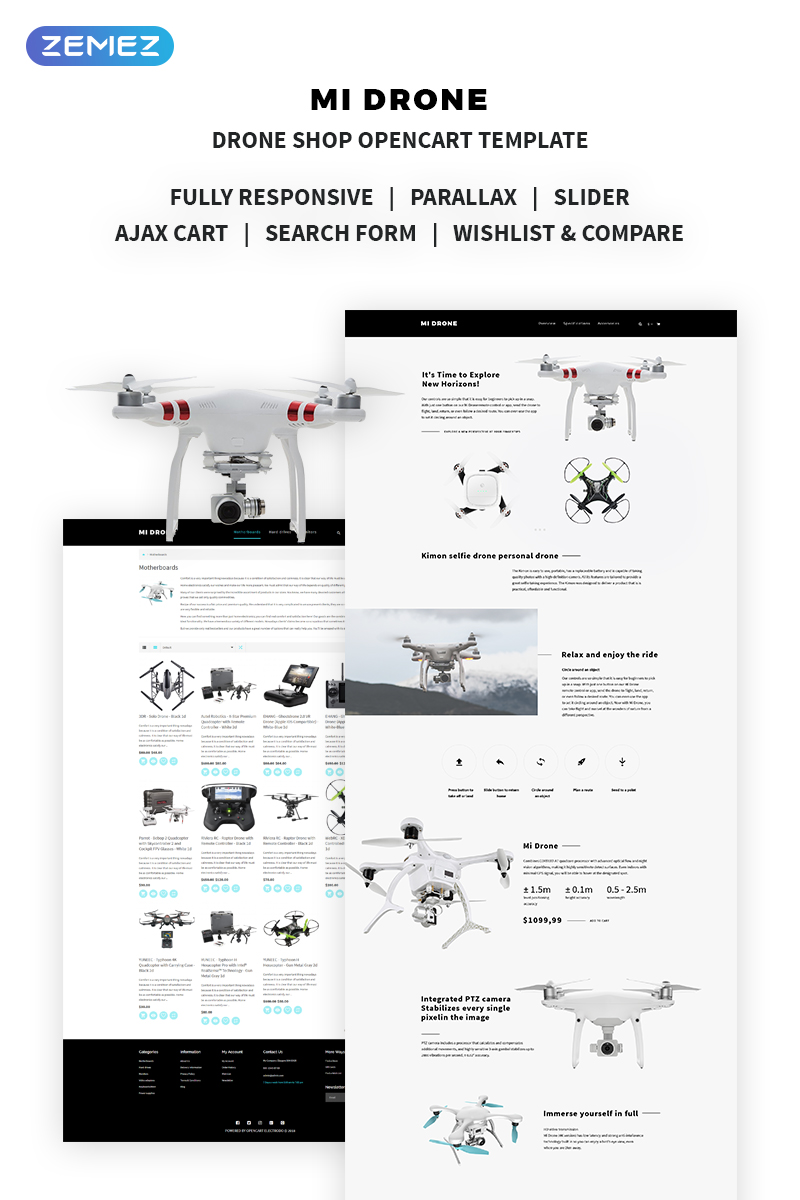 Mi Drone - Drone Shop OpenCart Template