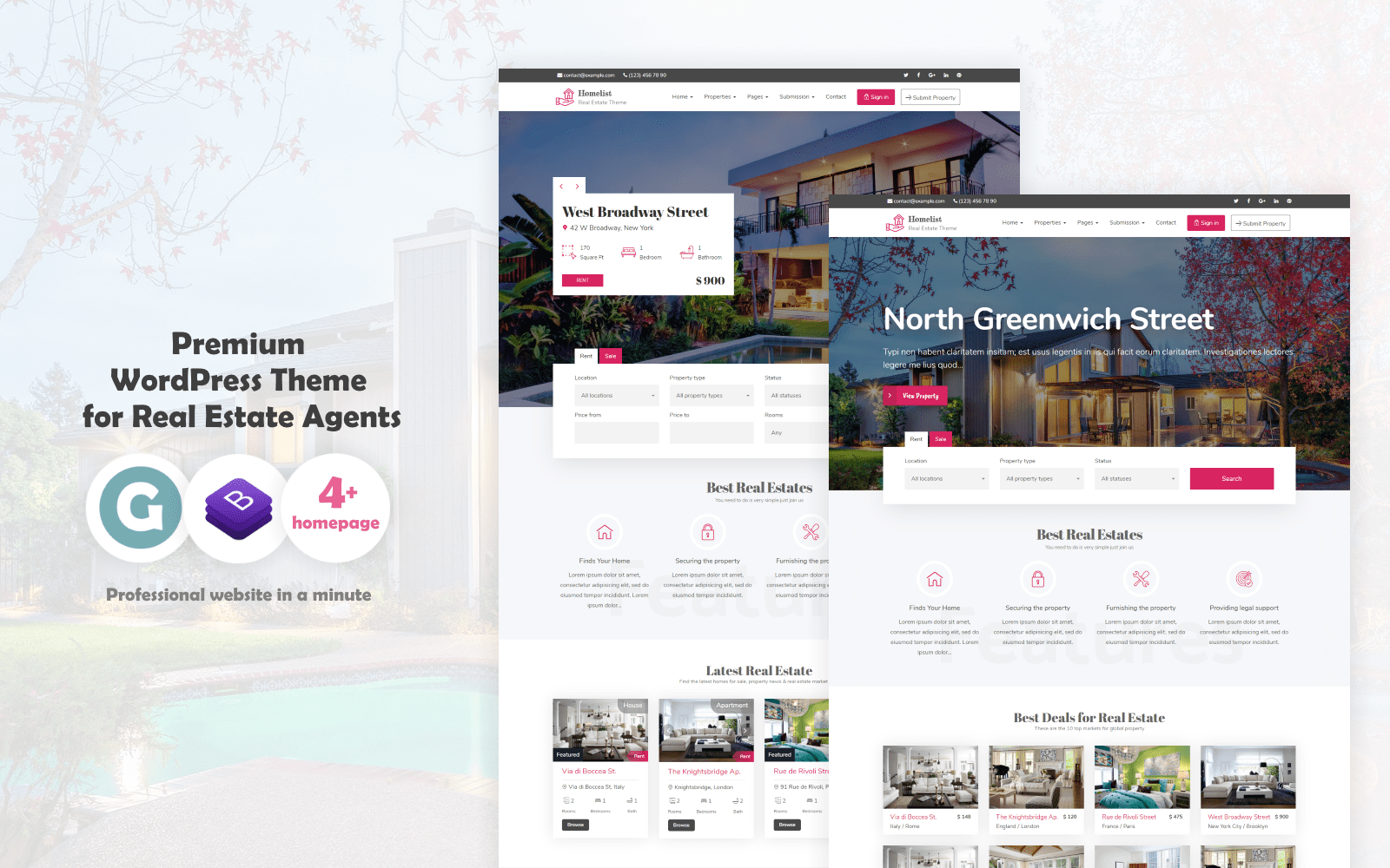 "Modello WordPress Responsive #68756 ""Homelist - Real Estate"""