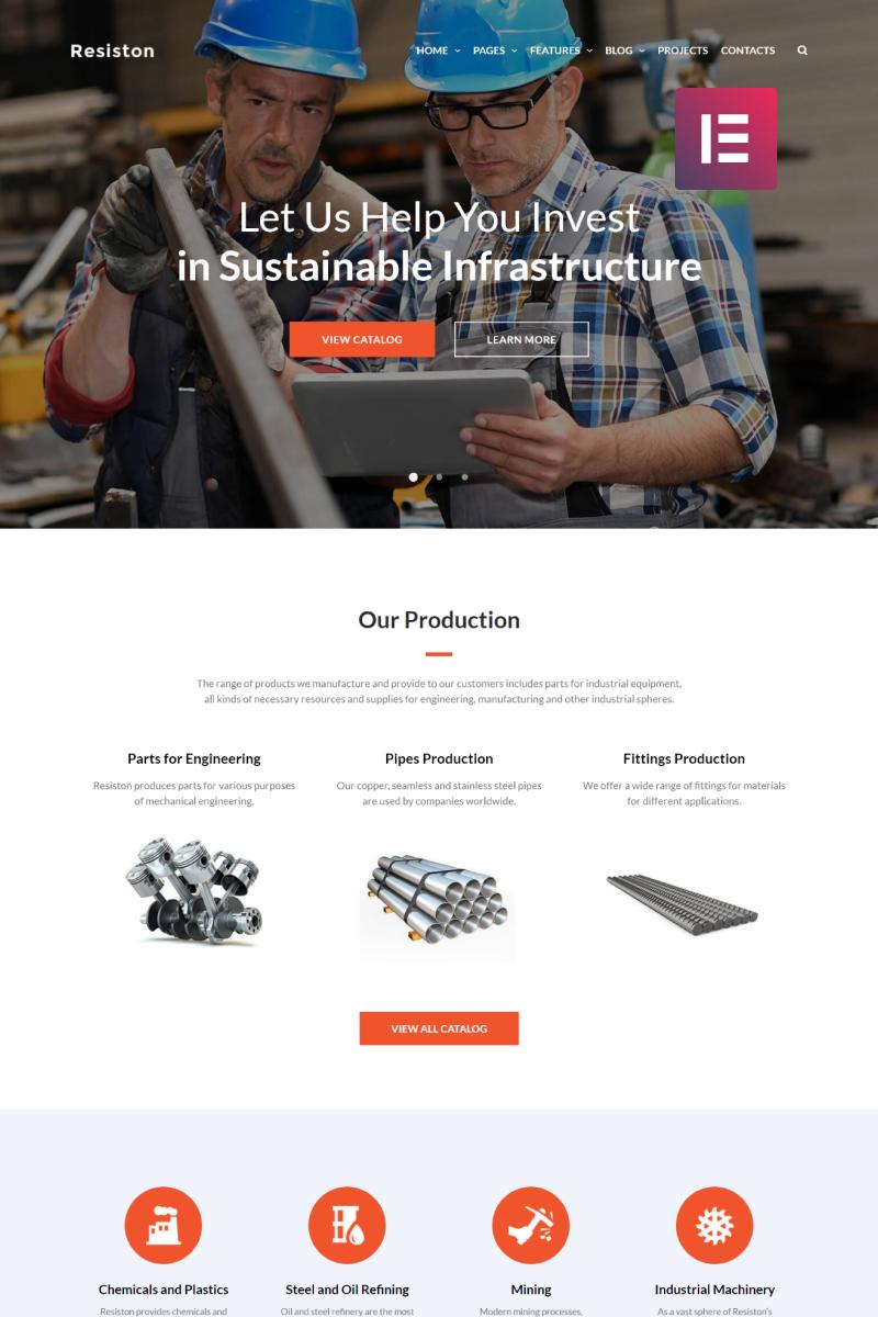 """Resiston - Industrial Company Elementor"" - адаптивний WordPress шаблон №68707"