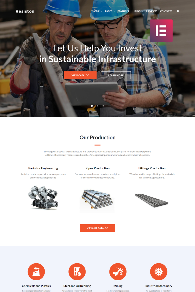 """Resiston - Industrial Company Elementor"" Responsive WordPress thema №68707"