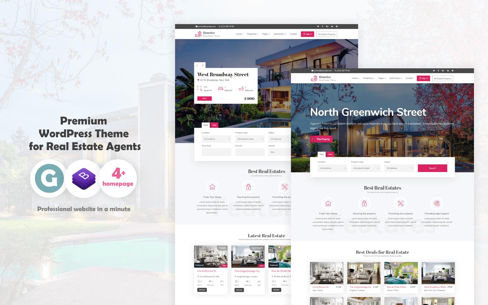 Responsivt Homelist - Real Estate WordPress-tema #68756