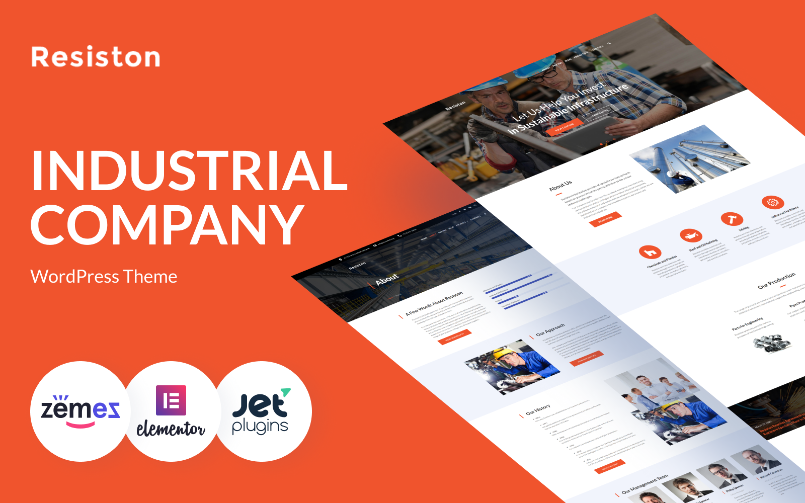 Responsivt Resiston - Industrial Company Elementor WordPress-tema #68707