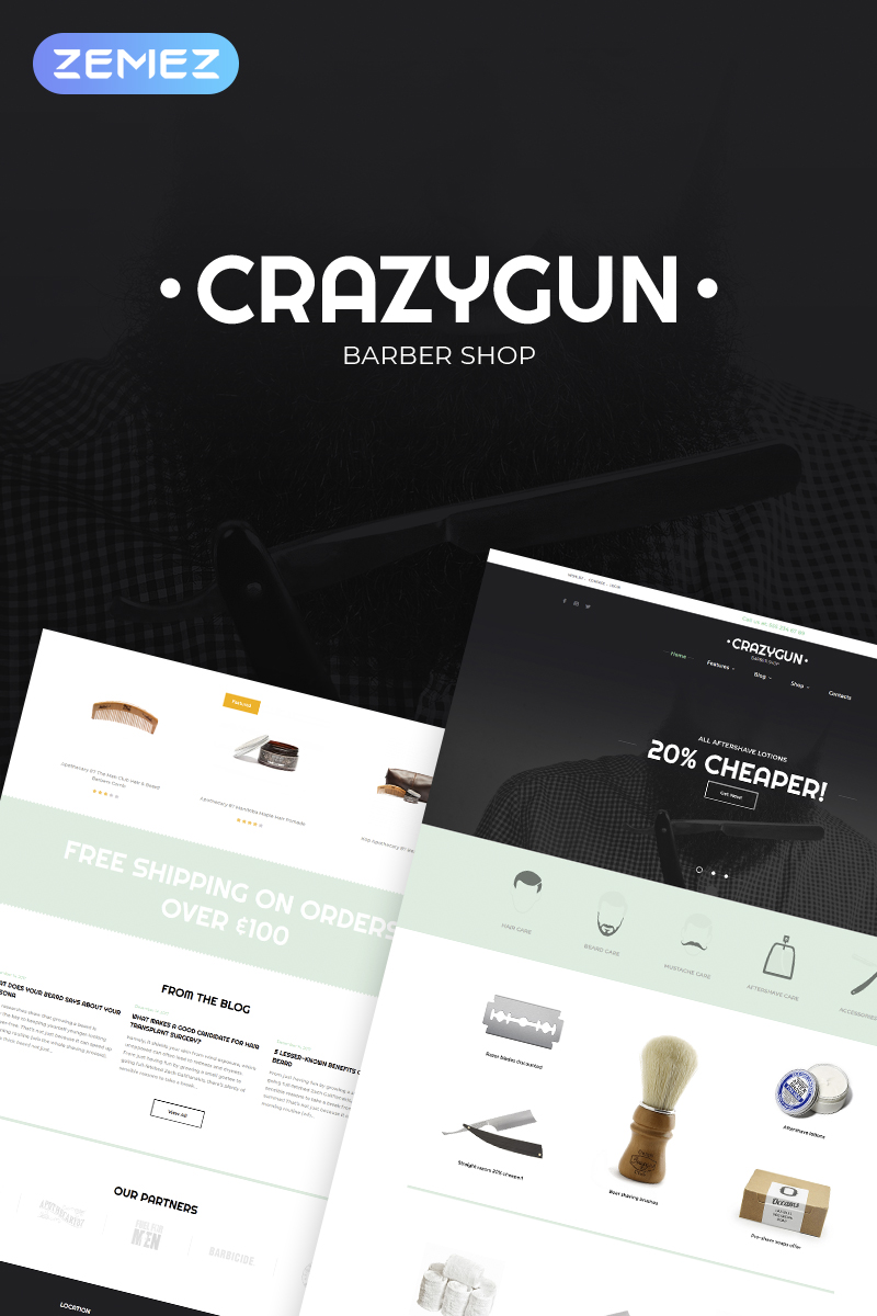 Responsywny motyw WooCommerce CrazyGun - Barber Shop Elementor #68774
