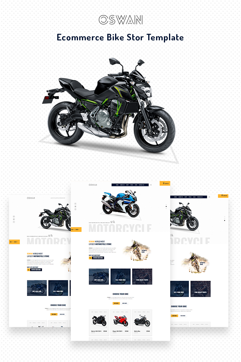 Reszponzív Oswan - eCommerce Bike Store Weboldal sablon 68709